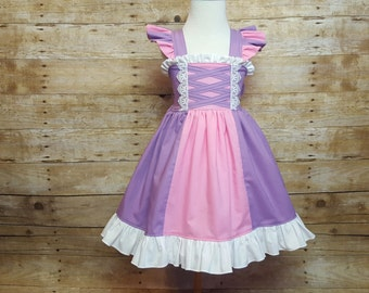 Rapunzel Inspired Girls Toddler Disney Everyday Princess Dress, Sizes 12 months to 12 Girls