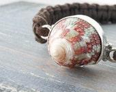 Macrame bracelet boho suede leather, silver connector - seashell