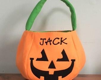 Trick or Treat Bag - Halloween Bag - Pumpkin Bag - Halloween Pumpkin - Personalized Pumpkin - Personalized Halloween - Candy Bag - Treat Bag