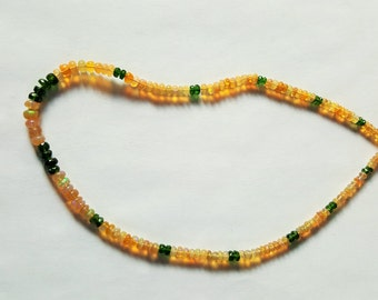 45ctw Chrome Diopside & African Fire Opal Sterling Silver Bead Necklace 16.50 inch