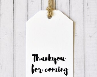 Thank You For Coming Gift Tag, Large Gift Tags, Wedding Gift Tag, Bonbonnieres Tag, Pack of 10, 20, 50, 100 or custom sized packs available
