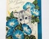 Vintage Kitten Belated Birthday Card- Rhinestone Eyes- Norcross Kittens 1950s- Die cut card- Heavenly Blue Morning Glory