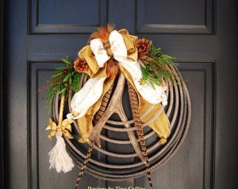 CUSTOM ORDER WREATH Western Woodland Lariat Antler Rope Spring Summer All Season Door Wreath