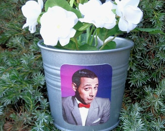 PEE WEE Herman, galvanized metal silver planter pot, I know you are but what am I, big adventure, nerd, playhouse, bowtie,geek