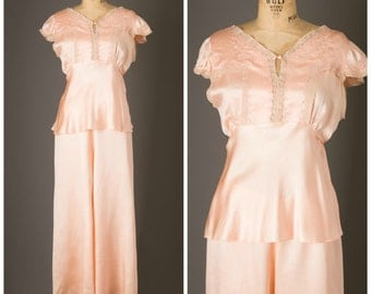 Peach Silk Pajama Set | Lounge Wear