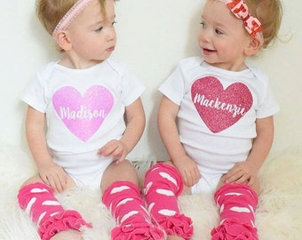 Personalized Girl's Name Bodysuit / Toddler Tee Tank Top Baby Gown - CUSTOM NAME HEART Sparkly color gold pink red silver