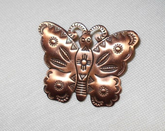 Butterfly brooch copper plated 1970s vintage pin navajo style tooling