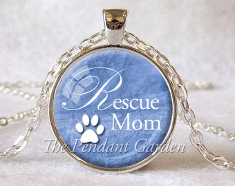 ANIMAL RESCUE PENDANT Rescue Mom Animal Paw Print Pendant Denim Blue White Pet Rescue Necklace Animal Lover Gift for Dog Lover Cat Lover
