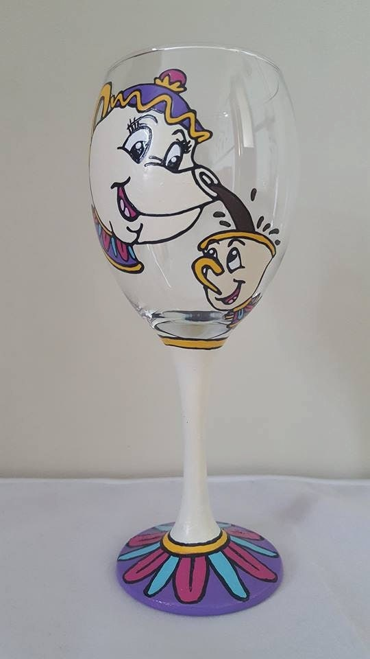 Disney 39 s mrs potts and chip from beauty and the beast for Homemade glass painting designs