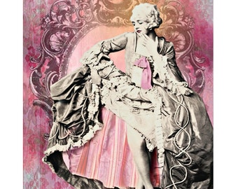 Marie Antoinette, digital print, vintage burlesque, photomontage, Cinderella, Art Deco, fine art print, vintage showgirl, digital art