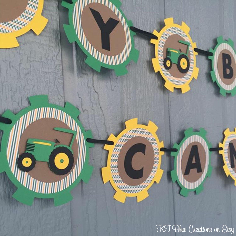 Tractor Birthday Banner Personalized Green Yellow Kraft