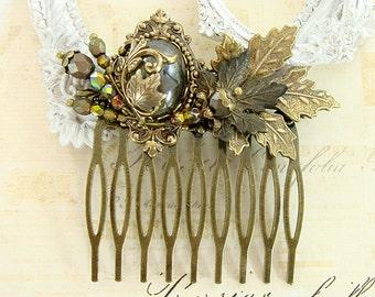 Victorian Woodland Hair Comb - Green Bronze Brass Cabochon Woodland Wedding Hair Comb - Autumn Nature Renaissance Faire Hair Accessories