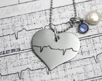 Engraved Etched Stainless Steel Soundwave Sound Wave Heartbeat Necklace - Ultrasound EKG Voice -