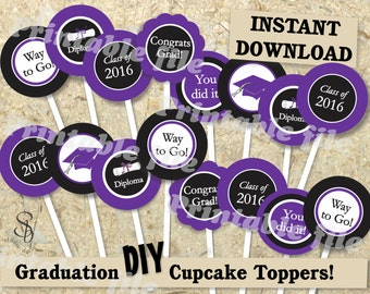 Graduation cupcake topper printable template DIY