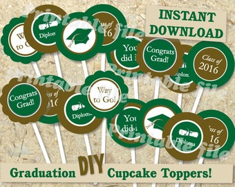Graduation cupcake topper printable DIY template