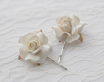 White Rose Hair Clips, wedding hair accessories, bridal hair clips, white rose pins, flower hair clips, rose bobby pins - set of two