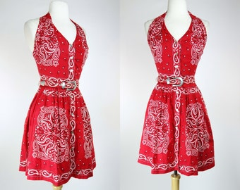 1990s red bandanna dress, cotton halter fit and flare belted mini dress, spring summer button up dress, XS