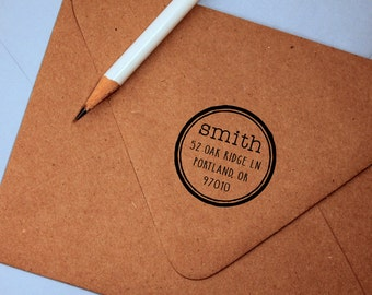 Self Inking Return Address Stamp, vintage, round stamp return address stamp, rubber stamp wood handle