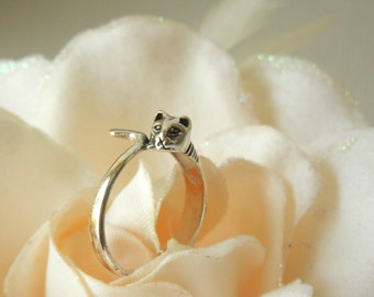 Cat Ring Sterling Silver, Silver Cat Ring, Gift for Cat Lover