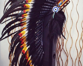 READY FOR HALLOWEEN . Y11 Medium Indian Double Feather Headdress (36 inch long )