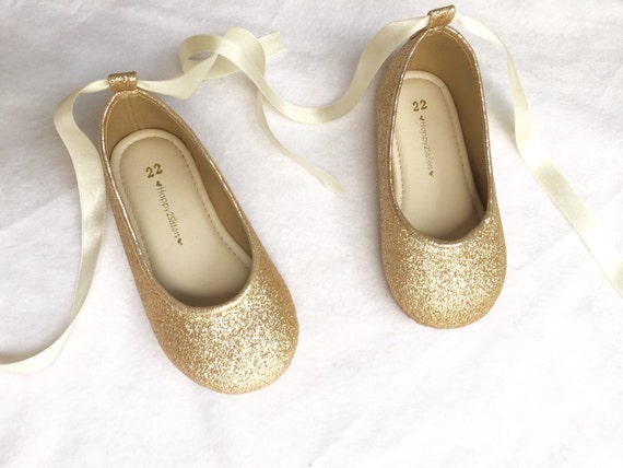 Toddler Size  Gold Glitter Shoes