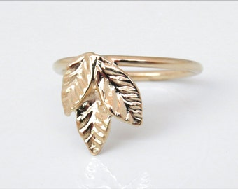 Rose gold leaf ring, 14k gold ring, three leaf ring, unique gold ring, ring with leaves, gold leaf ring, nature ring, unique ring, rose ring