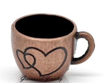 Coffee Lovers - Coffee Cup - Dangle, Charm, Bead - Bracelet And Necklace Chain. Antique Copper 26x20mm