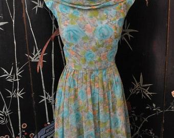 1950s Watercolor Floral Print Dress - Large