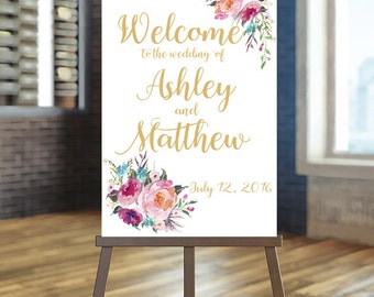 Printable Wedding Sign, Welcome Wedding Sign, Floral Wedding Sign, Coral welcome sign, Gold Wedding Sign, Bohemian Wedding Sign, Boho, Laura