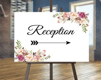 Printable Wedding Reception sign, Floral Directional sign, Blush directional sign, Elegant Directional sign, Arrow sign, Calligraphy sign