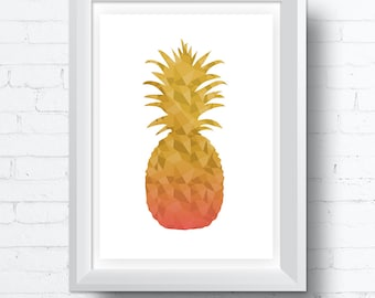 Geometric Pineapple Printable Wall Art  Download. Modern contemporary poster (various sizes) Gallery Wall Print