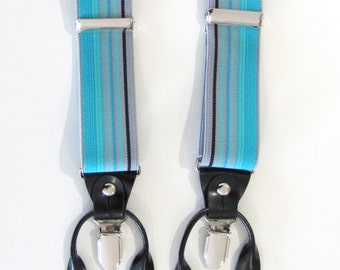 Mens Suspenders. Turquoise Black Stripe Combination Suspenders / Braces Set. Wear Pant Buttons Or Clips All Provided. Wedding Suspenders