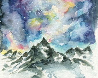 Matterhorn Mountain - ART PRINT 8 x 10 | Watercolor painting by Ruth Oosterman