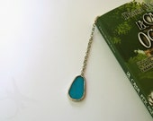 Light blue bookmark matrioska small size with metal and Tiffany glass