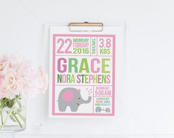 Personalized Birth Announcement || kids print, nursery poster, personalised nursery, baby shower gift, girl nursery print, kids art