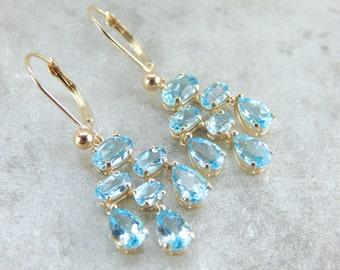 Caribbean Waterfall, Elegant Blue Topaz Chandelier Earrings 7YFUW4-R