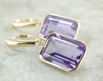 Amazing Amethyst Drop Earrings, Polished Stones, Perfect Bezel Settings HFHM8E-R