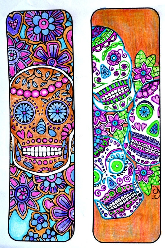 Sugar Skull Bookmarks To Color And Print Bookmark Coloring