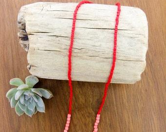 rose quartz // heart chakra // red necklace