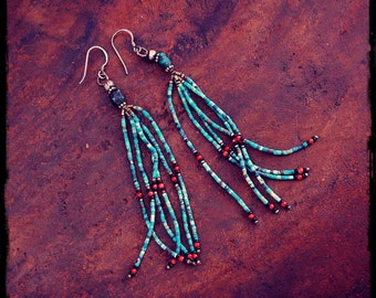 Gypsy Tassel Earrings with Turquoise and Coral