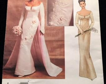 Elegant Vogue Bridal Original Couture Wedding Evening Gown,Off Shoulder,Fitted Bodice,Rosettes,Optional Train Size 6-10 & 18-22 Pattern 2720