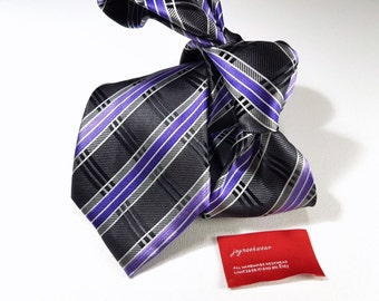 Silk Tie in Plaid with Regency Purple Lilac Charcoal Silver Grey and Black