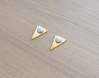 1 pcs of White Howlite stainless steel triangle gold plated pendant