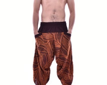 Japanese Style in Samurai Pants, Pants, Baggy pants, Yoga pants,100% Cotton(Unisex) One Size Fit All
