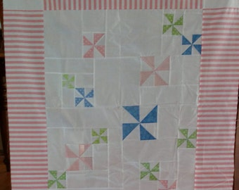 Unfinished Quilt Top Ready to Quilt Lap Throw Baby Quilt Blanket Pinwheels Pastel pink blue green