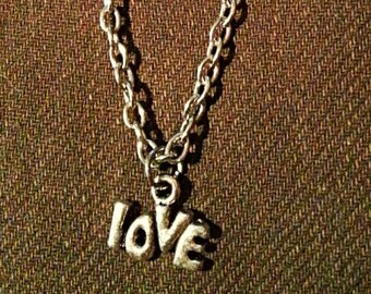 tiny silver necklace - silver love necklace - silver love charm pendent on necklace  - non allergic