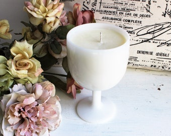 Soy Candle Vintage Milk Glass Goblet Container OOAK / Orange Blossom Candle / Vintage Milk Glass / One Of A Kind / Handmade / Natural Candle