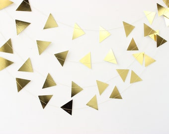 Gold Triangle Garland, Gold Arrow Garland, Gold Party Decor, Gold Baby Shower, Gold Wedding Decor, Gold Wedding Theme, Gold Bridal Shower
