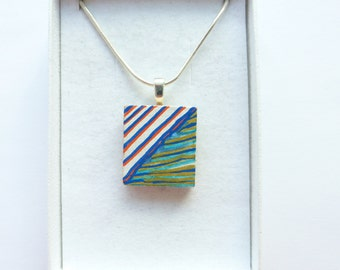 Striped Pendant, Red and Blue, Hand Painted, Wood Necklace, Original Abstract Picture Pendant, Wearable Art Jewelry, Painting Necklace, OOAK