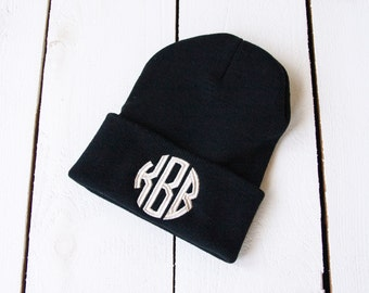 MONOGRAM Beanie Embroidered Slouchy Hat Custom Name Beanie